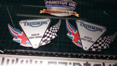 Triumph flag Decal x2 sticker decal graphics restoration replacement SILVER